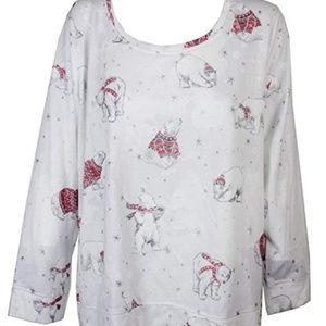 Style & Co Pullover Top Snow Polar Bears Embellish